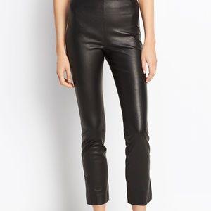 Vince Cropped Leather Split Hem Trouser Pants
